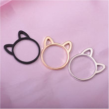 2019 Hollow Out Cat Ears Rings For Women Animal Cartoon Jewelry Fashion Plating Black Ring For Girls Gift Cute Plated Gold Ring(China)