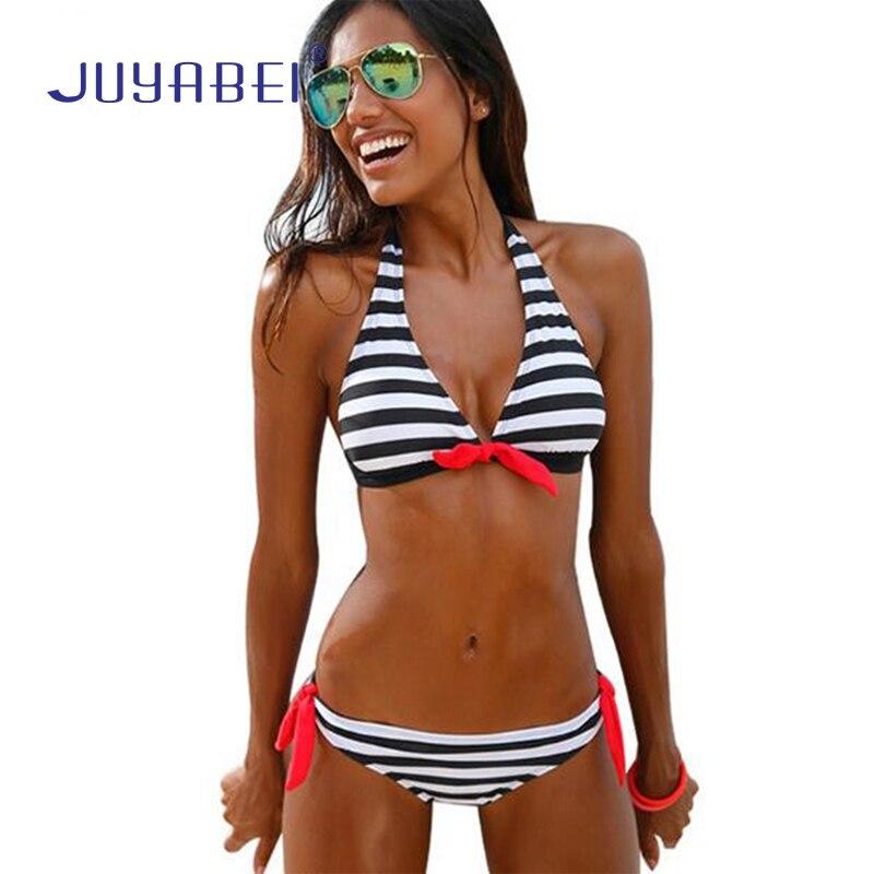 JUYABEI New Girls Striped Bikini 2018 Push Up Swimwear Women Tankini Low Waist Bandage Swiming Suit for Women Beach Wear