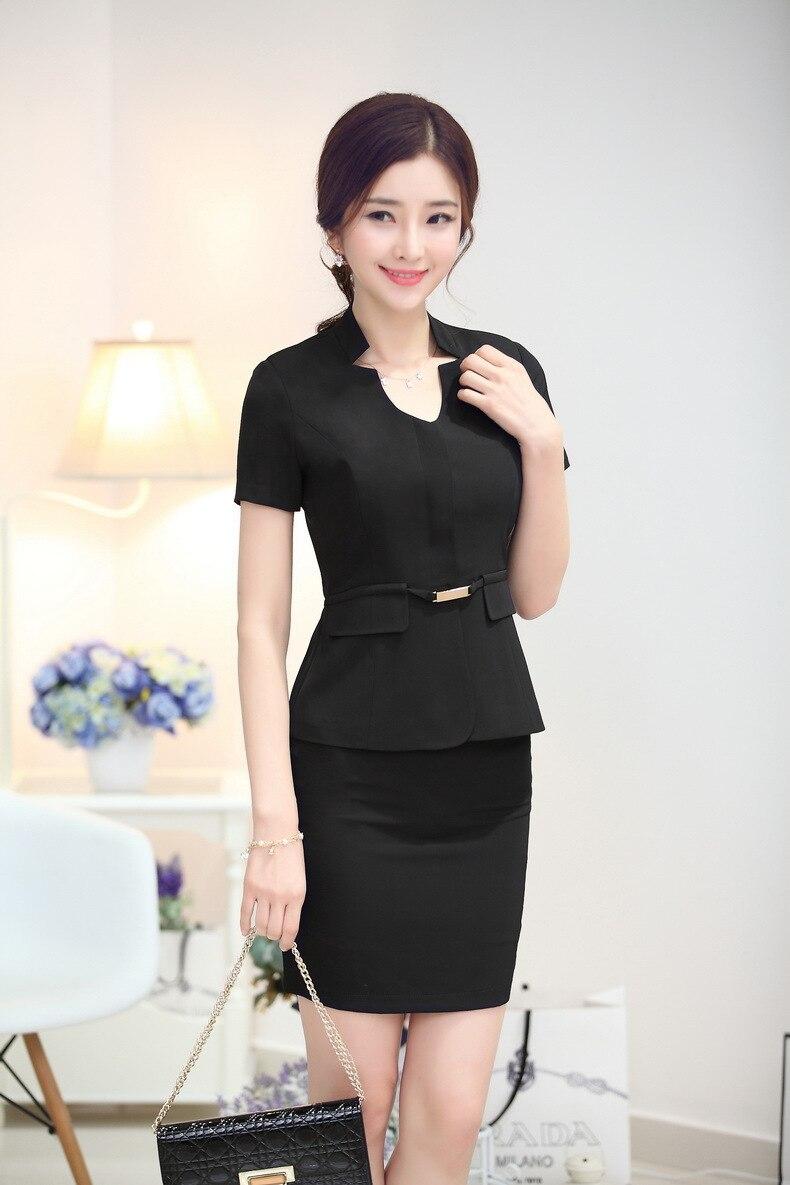 Элегантный черный Лето Бизнес Для женщин карьера костюмы куртки и юбки дамы Повседневная обувь юбка костюмы костюм с пиджаком плюс Размеры - Цвет: Black