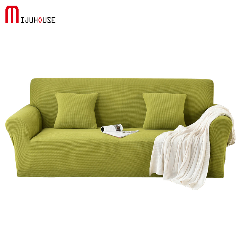 Solid Color Polar Fleece Sofa Cover Stretch Knit Fabric Green Fashion  Stretchable Sofa Slipcovers Cushion Couch Protective Case