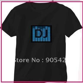 pup club DJ music actived el led t-shirt,sound actived led t-shirt