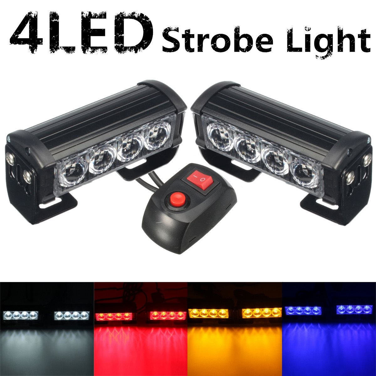цена на Car Vechicle 4 Led Emergency Strobe Flash Warning Light Lamp 12V 8 Led Flashing Lights Red Blue White Yellow