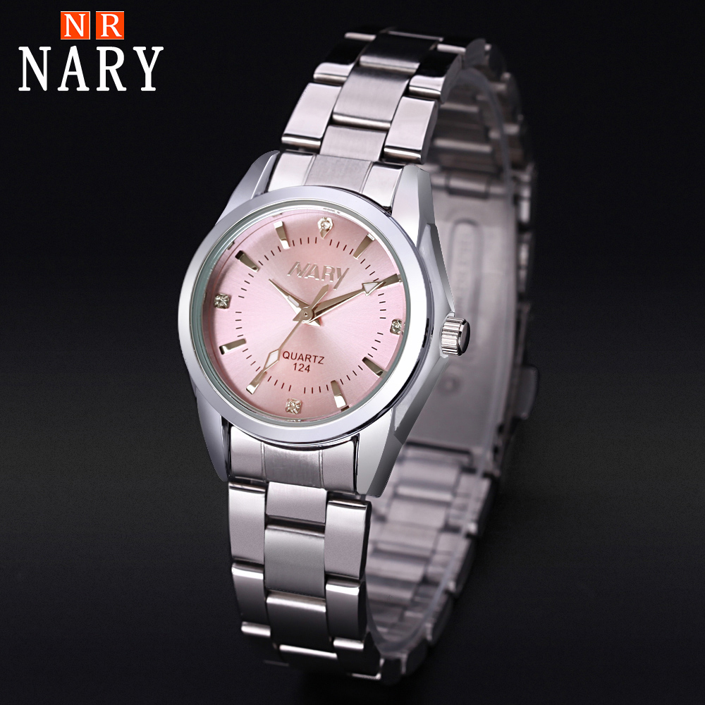 2019 New fashion NARY brand Pink watch for women ladies Casual dress quartz wrist watch reloj mujer go124 Montre Feminino new fashion watch women rhinestone quartz watch relogio feminino the women wrist watch dress fashion watch reloj mujer dift box