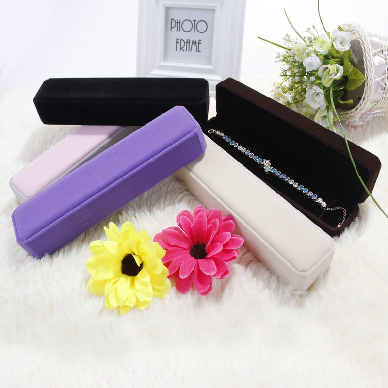 Lovely Bracelet Jewelry Gift Box Packaging Rectangle Velvet Carrying Case Holder Storage Package Display Boxes For Jewellery