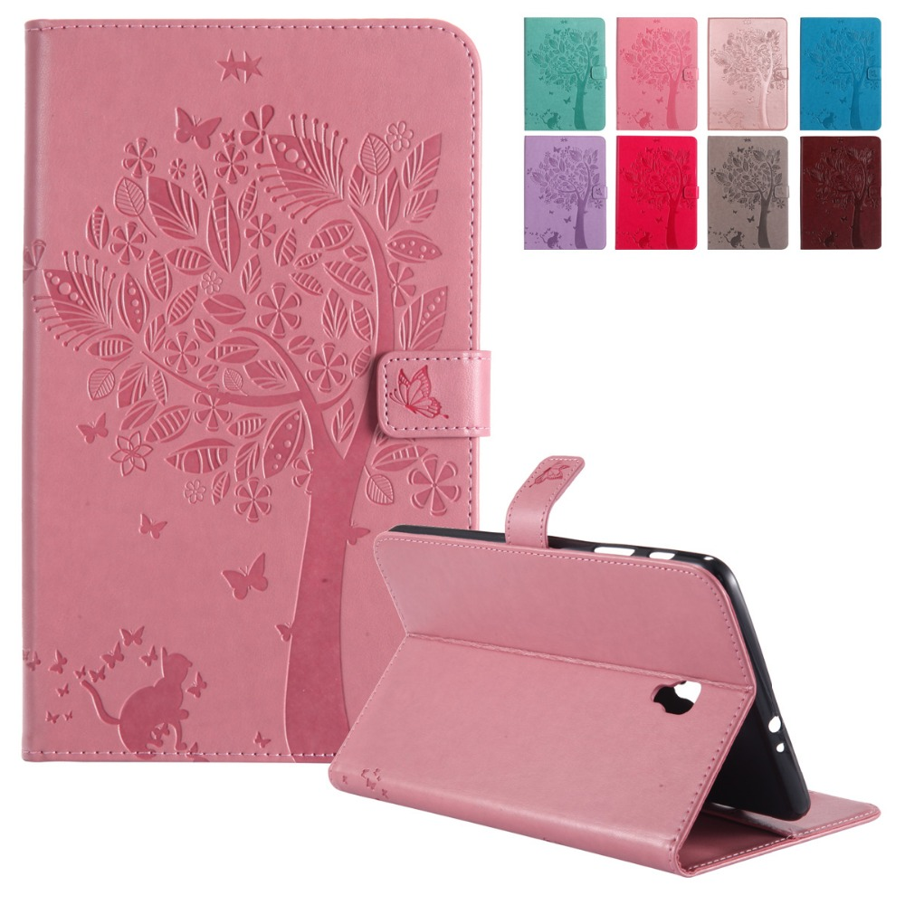 Hot Sale Emboss Cat Under The Tree Pu Leather Flip Wallet Stand Case Book Cover Samsung Galaxy Tab A 2017 8 Inch 80 Sm T385 Cases Card Holders For T380