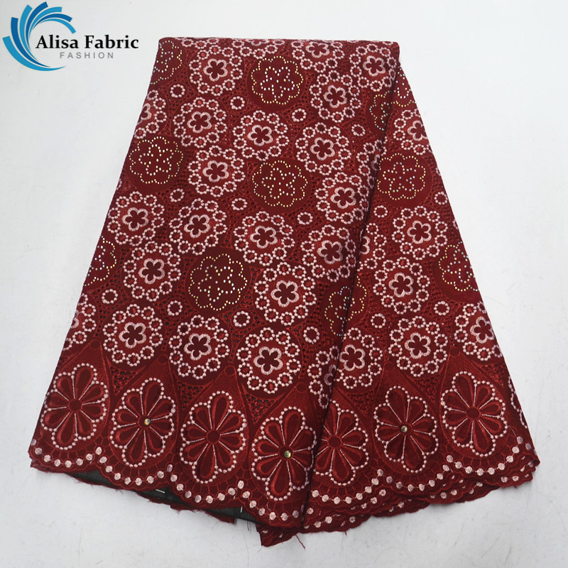 Hot selling products Swiss voile lace in switzerland with stones 5 yards African lace fabric 2019