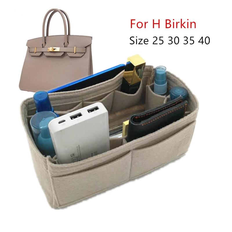 For designer bag Felt Cloth Insert Bag 1birkin Organizer Makeup Handbag Inner Portable Cosmetic Bags