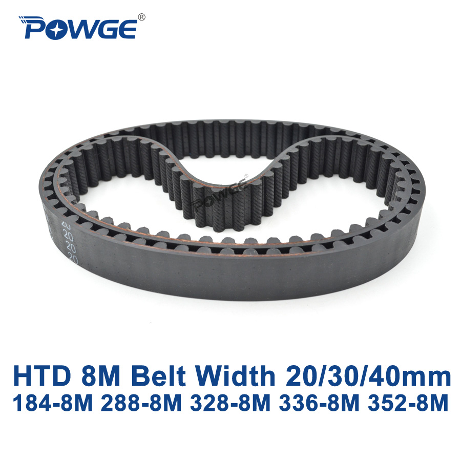 POWGE HTD 8M synchronous belt C=184/288/328/336/352 width 20/<font><b>30</b></font>/40mm Teeth <font><b>23</b></font> <font><b>36</b></font> 41 42 44 HTD8M Timing Belt 184-8M 353-8M 336-8M image