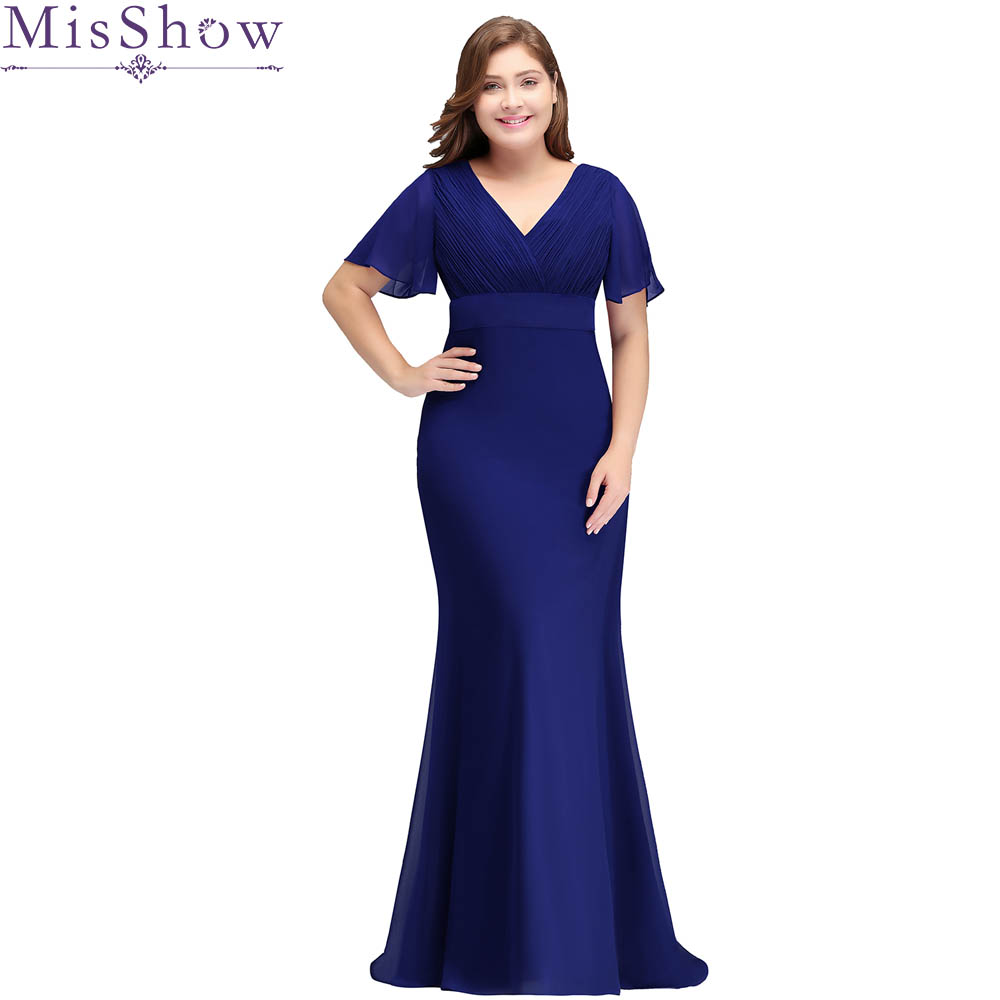 Cheap royal blue Burgundy plus size evening dress elegant v neck bat sleeves wedding party formal dress a line evening dresses