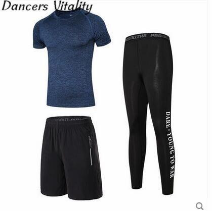Mens Sports Suits Running Clothes For Men Short sleeve shirt Gym T Shirt Cropped Pants Sets Basketball Running Sets 3PCS