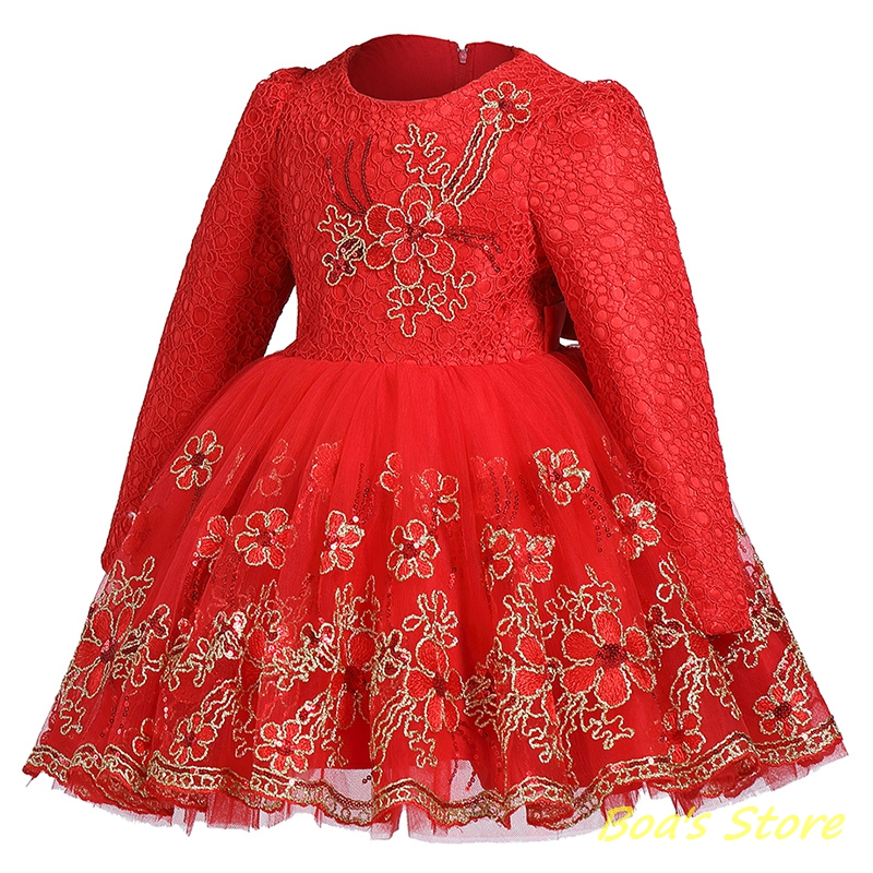 Baby Girls Red Purple Long Sleeve Full Dress Warm Ball Gown Flower Girl Party Wedding Special Princess Kids Dresses Clothes baby girls red long sleeve full dress ball gown golden flower party wedding special princess kids dresses for girls clothes