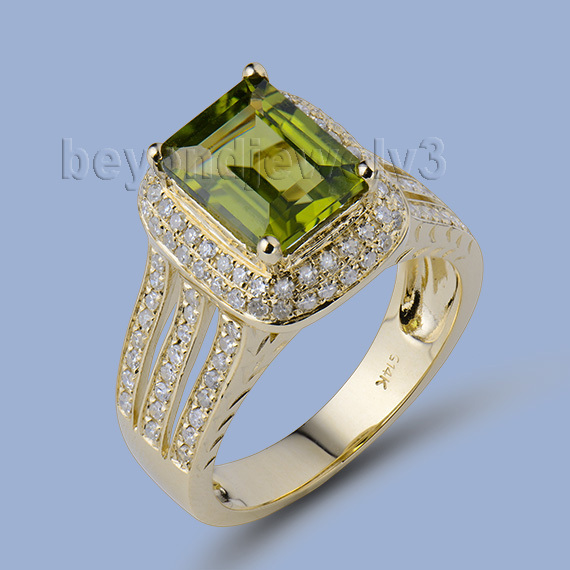 Bague de pureté fantastique 14K or jaune péridot naturel bague de bijoux de beauté SR014
