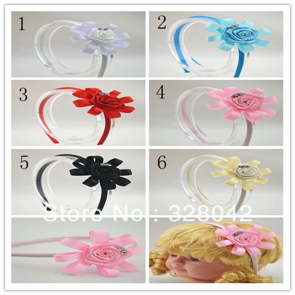 Trail order  Grosgrain Ribbon flowers Hairbands princess satin ribbon rosettes flower headband hair accessory 30pcs/lot