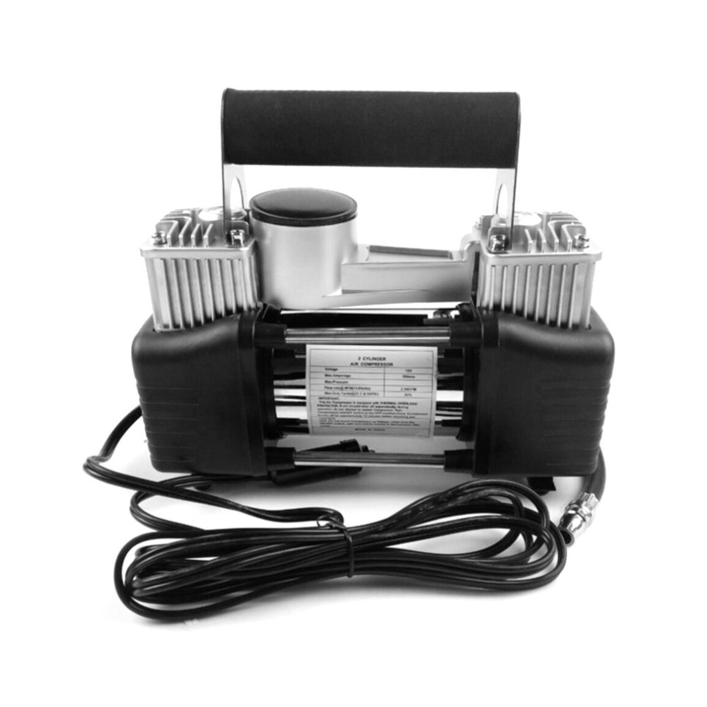 High Pressure 12V Car Tyre Inflator Double Cylinder Air Compressor Metal Tire Inflator Air Pump with Tools Suitcase 2 12v portable digital car air tire compressor double cylinder heavy duty 150psi tyre pressure inflator pump vacuum cleaner