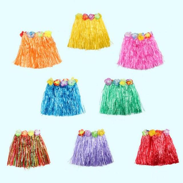d6b6b601f Wholesale 10 Colors 1Pcs Plastic Fibers Kid Grass Skirts Hula Skirt  Hawaiian costumes 30CM Girl Dress