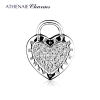 ATHENAIE 925 Sterling Silver Charms Pave Clear CZ Lock Your Promise Clip Stopper Beads Fit European Bracelet & Necklace Jewelry
