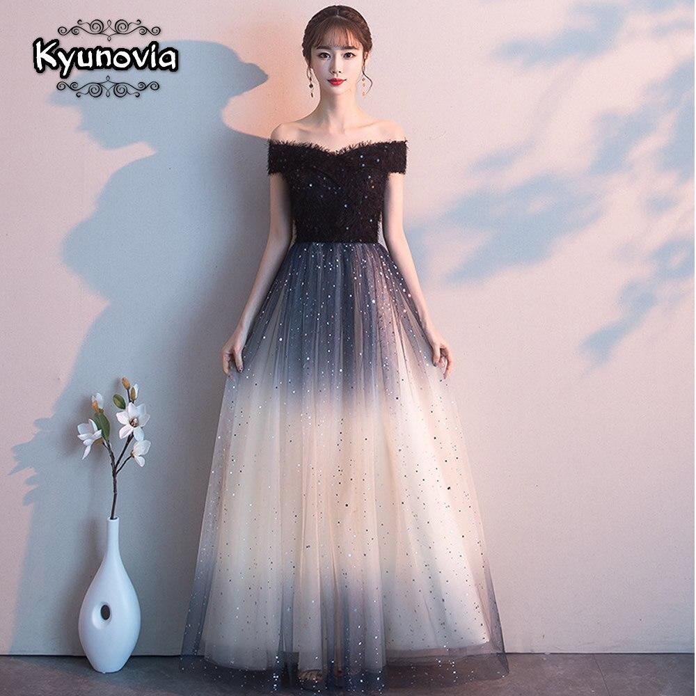 Kyunovia élégante épaule dénudée nouvelle courte noir robes de bal pour l'obtention du diplôme formelle soirée robe de bal E12 nouveau