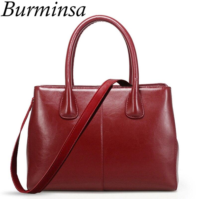 Burminsa Chic Women Genuine Leather Handbags Large Capacity Female Shoulder Messenger Bags Ladies Hand Bags 2019 Black Red Beige