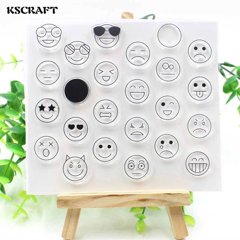 KSCRAFT Emoji Transparent Clear Silicone Stamps for DIY Scrapbooking/Card Making/Kids Ch ...