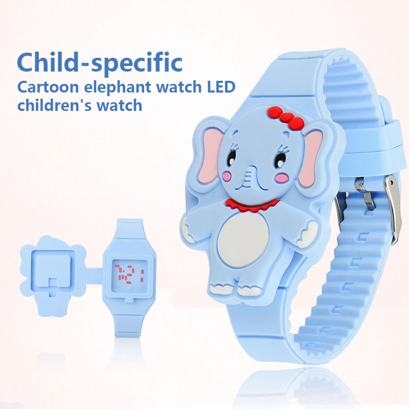 Girls Kids LED Electronic Watch Silicone Band Cartoon Elephant Flip Case Wrist Watch Lovely Gift LL@17