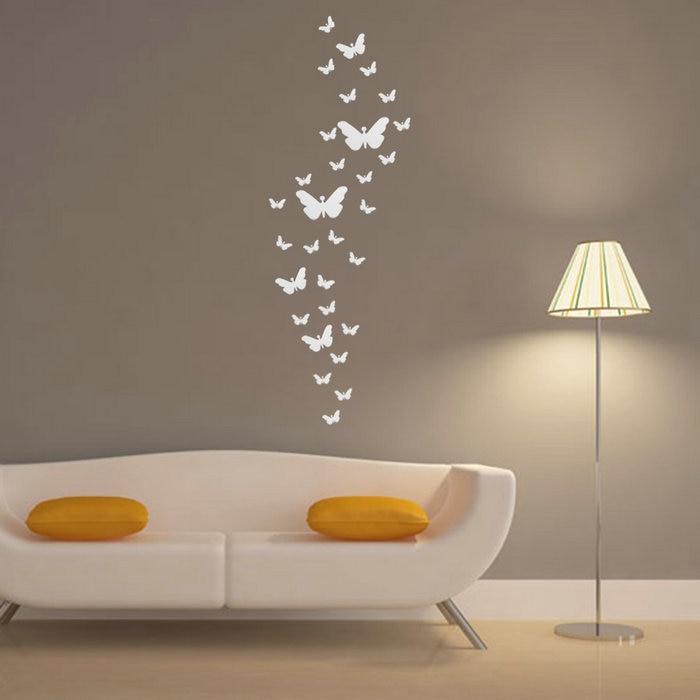 Promo 30Pcs DIY 3D Silver Acrylic Butterfly Modern Design Home
