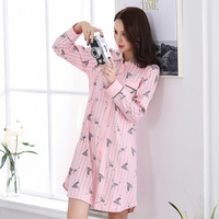 Autumn&winter nightgowns for woman pure cotton stripe cardigan turn down collar women sleepwear Cartoon printing home clothing