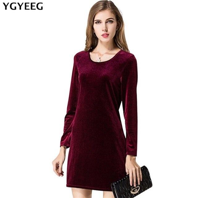 ea39e427a71e81 YGYEEG Recentemente Abiti Donna Autunno Velluto Vino Rosso Veste Abiti  Abbigliamento Elegante Inverno Vintage Slim Manica