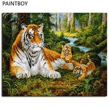 Pintura sin marco by números de animales tigre pintura al óleo de diy en Cnvvas Decoración For Living Room g 40*50 m de La Pared Arte GX8479