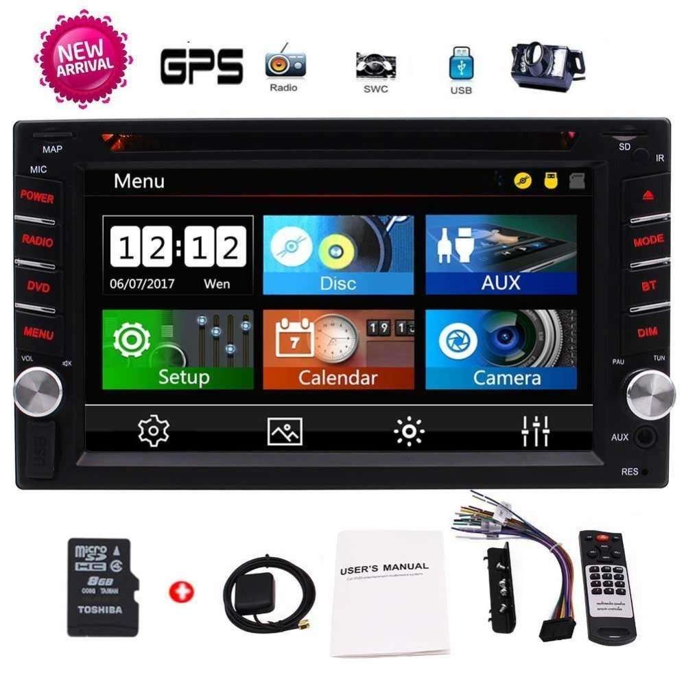 EinCar 2 Din Car GPS Navigation Touch Screen in console Stereo DVD Bluetooth GPS Radio Entertainment support USB SD AUX 1080P joyous j 2616mx 6 2 touch screen car dvd player w gps navigation radio bluetooth aux black