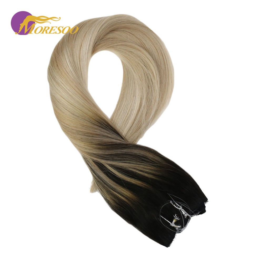 Moresoo 12-22in Flip On Hair Extensions Remy Human Hair Off Black #1B Fading To Blonde #18 With #60 Wire Hair Extension 50-100G