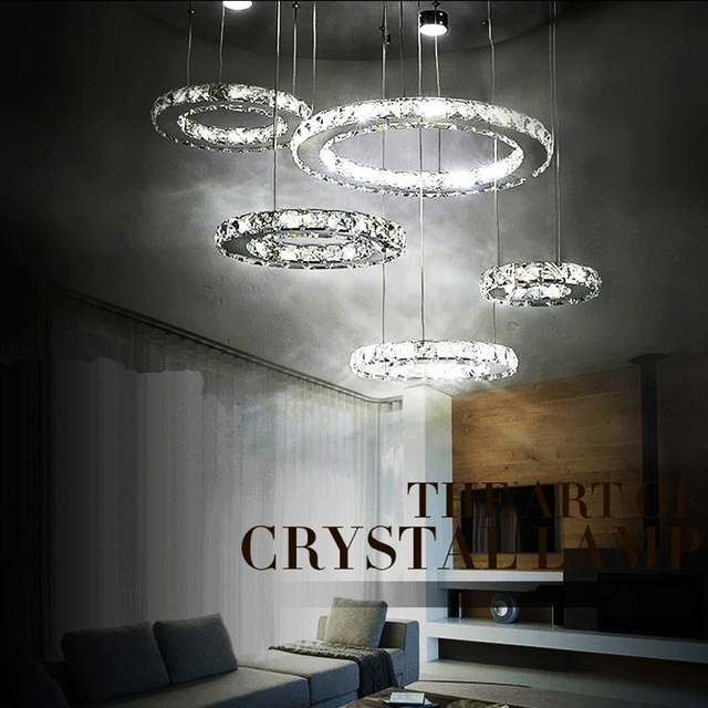 Chandelier Light Fixture K9 Crystal Stainless Steel Led Lighting Modern Luxury 3 5cycles Ac110