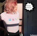 New korean harajuku vintage kawaii kiko turtleneck unif letter embroidery striped pink t shirt knitting tight short-sleeve tops