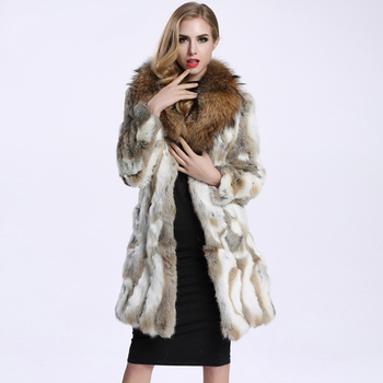 2016 Autumn and Winter Raccoon Fur Collar Rabbit Fur Coat Women's Long Fur Outwear BE-1645 Free Shipping 1