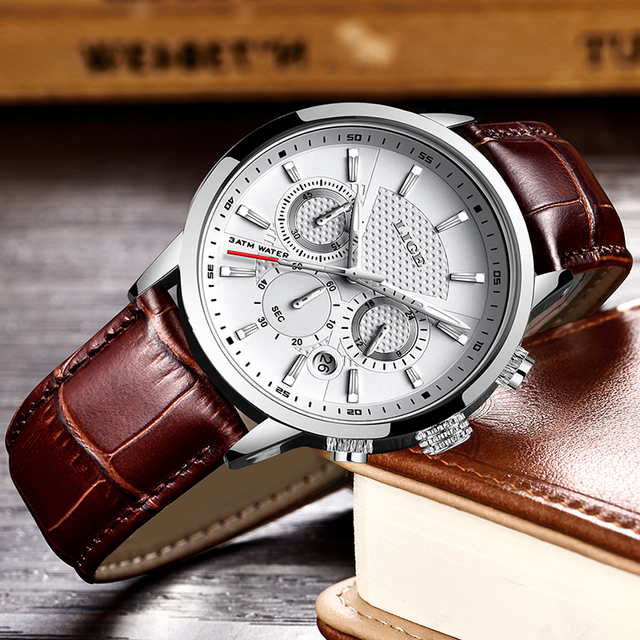 LIGE Men Fashion Sport Quartz Luxury Leather Business Waterproof Watch 2