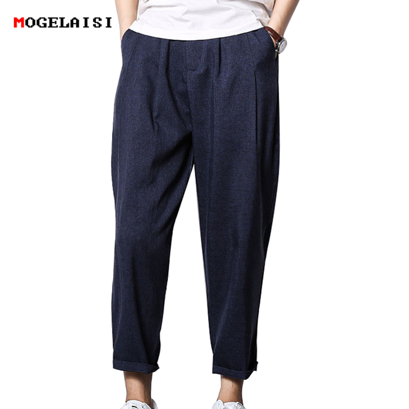 Harem Pants Mens Linen Cotton Trousers Ankle Length Flax Pants Men Summer Breathable Straight Pants Navy Blue Size M-3XL