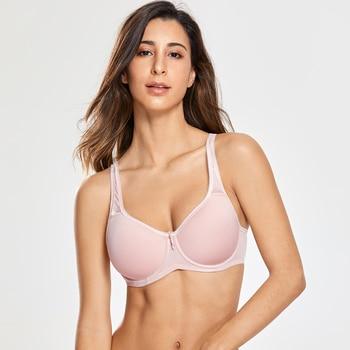 Full Coverage Underwire Lightly Padded Seamless Bra for Women Basic Minimizer T-shirt Plus Size 2