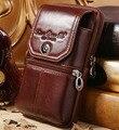 Homens Genuíno Couro De Couro Celular Mobile/Phone Case Capa Da Pele Do Vintage Hip Fanny Saco Cinto Pacote de Cintura Bolsa de Pai Presente de natal