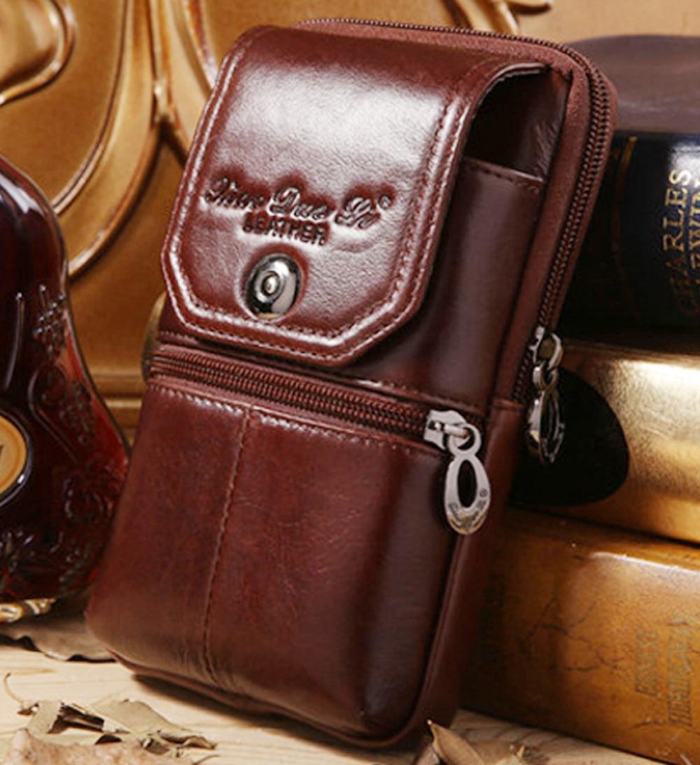 men genuine leather cowhide cell mobile phone case cover skin vintage belt hip fanny bag waist. Black Bedroom Furniture Sets. Home Design Ideas