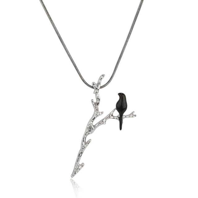 Hot Sale Creative Black Bird on Y-shaped Branch Pendant Necklace with Black Chain Personality Jewelry For Women Kids Wholesale