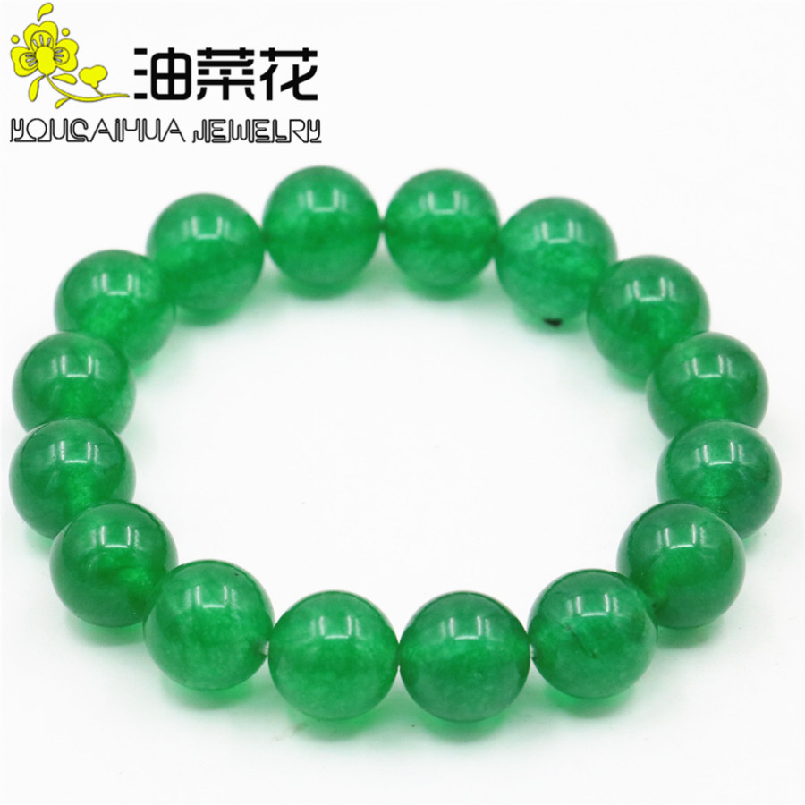 Fashion Charming 12mm Green Chalcedony Beads Bracelet Natural Stone Men`s DIY Fashion Jewelry Making Design Hand Made  Ornaments