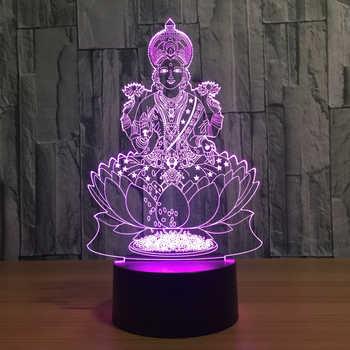 Lakshmi 7 Color Changing Lamp 3D Atmosphere Night Light LED Visual India Goddess Of Wealth Lamp Bedroom Decor Gift Light Fixture