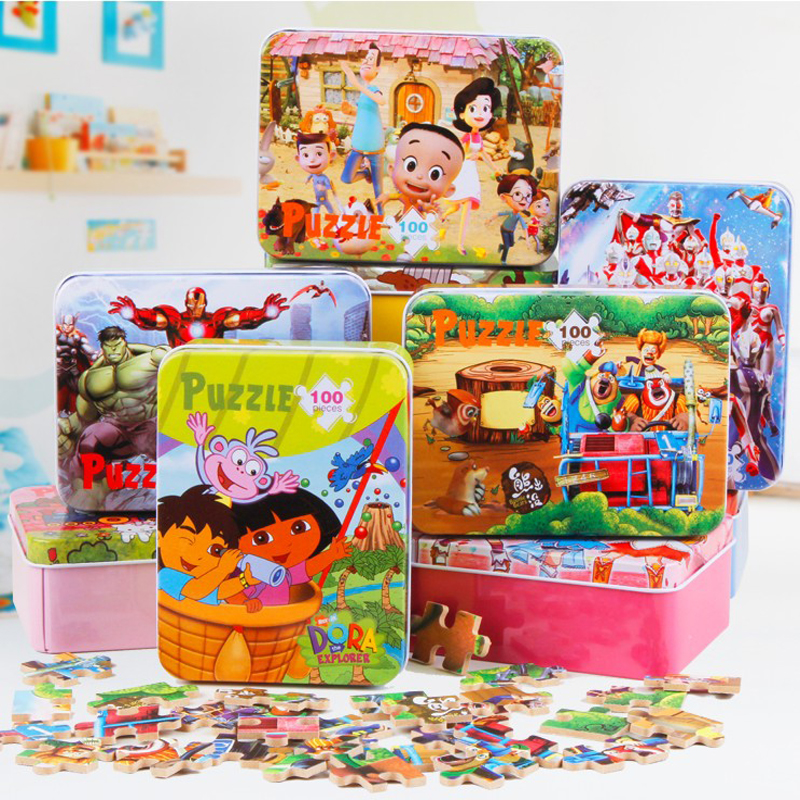 100pcs/set Wooden Puzzle Cartoon Toy 3D Wood Puzzle Iron Box Package Jigsaw Puzzle for Child Early Educational Montessori Toys цена