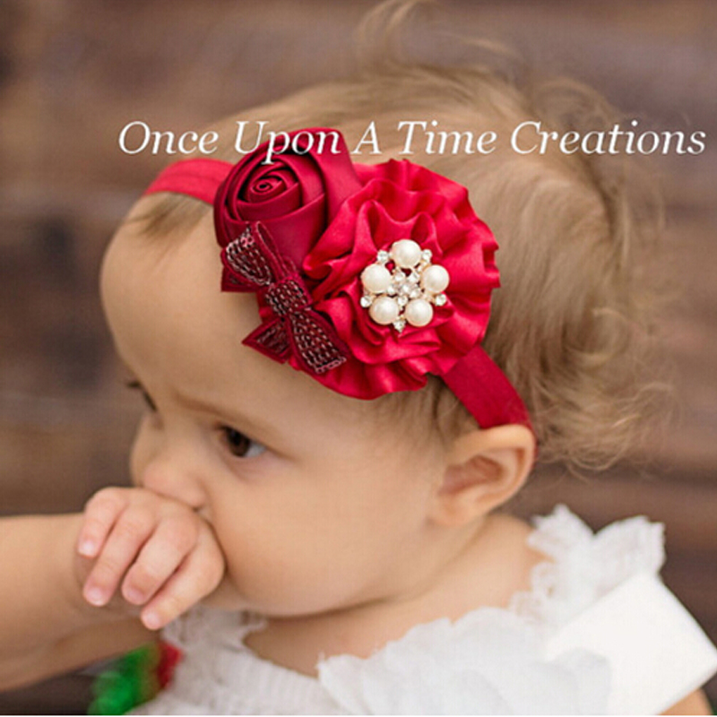 TWDVS New Fashion Style Headwear Baby Girls Flower Headband Rose Pearl Hair Accessories Children Hair Bands Hats Hot Selling W95 metting joura vintage bohemian green mixed color flower satin cross ethnic fabric elastic turban headband hair accessories