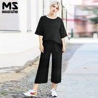 Mooishe Summer Casual Women 2 Piece Set Loose T Shirt Half Sleeve Oblique Hems Ankle Length