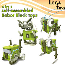 4 IN 1 Self-Assembled Electronic Building Robot Blocks toys Science And Education Brick Constructor Board Games model kit Toys