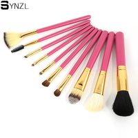 10pcs Professional Makeup Brushes Rose Red Color Goat Hair Cosmetic Brush Set Make Up Brush Tool