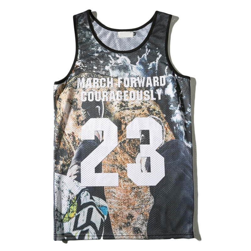3D Printed Streetwear Jersey Material Men's Tank Top 2017 Summer New Arrival Breathable Quick Dry Hip Hop Tank Top