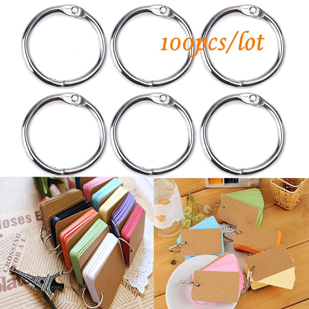 100 PCS 25mm Inner Diameter Metal Loose Leaf Ring Binder Ring Clip Album Scrapbook Craft Photo Split Rings Tool