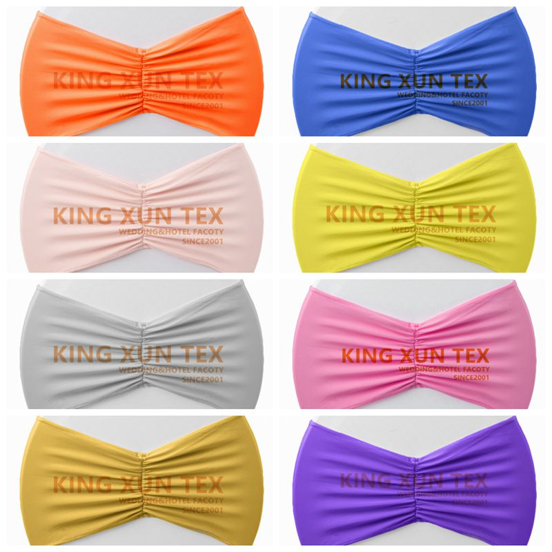 Pleated Lycra Chair Band Stretch Spandex Chair Sash Fit For Wedding Chair Cover Decoration