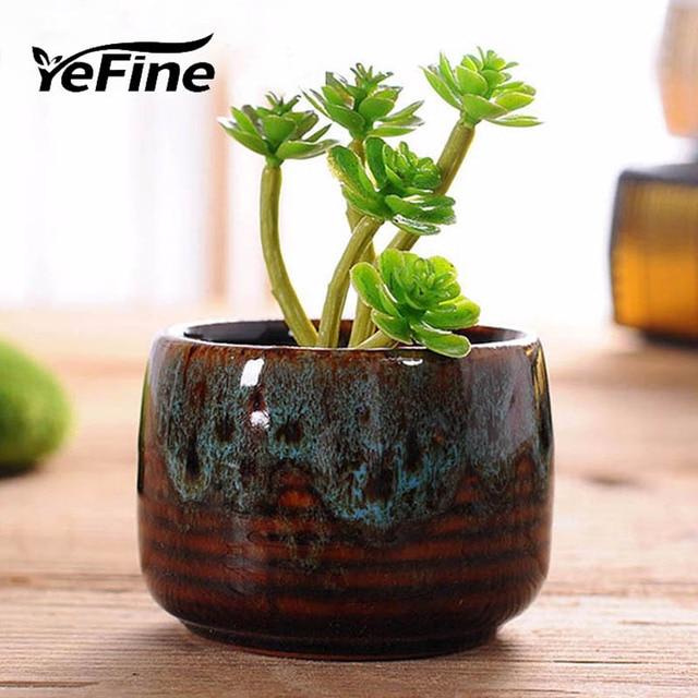 YeFine European Creative Succulents Bonsai Pots Home Decor Ceramic Crafts  Ornaments Desktop Mini Fleshy Flowerpots For
